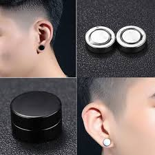<b>One Pair 2 Pieces</b> New Men Stainless Steel Round Magnetic Clip ...