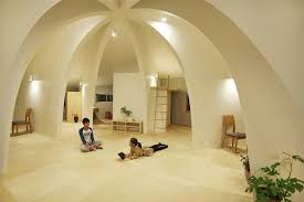 open concept japanese family home with domed interior 1 night lighting home interior lighting 1