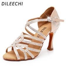 DILEECHI <b>Latin dance</b> shoes double <b>Rhinestone</b> shining Skin Black ...