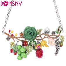 <b>Bonsny Statement</b> Bird Flower Choker Necklace <b>Enamel Alloy</b> ...