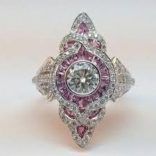 2 Ct Off White Moissanite <b>Antique</b> Art Deco Engagement <b>925</b> ...