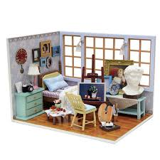 handmade doll house furniture miniatura diy doll houses miniature dollhouse wooden toys for children birthday gift cheap wooden dollhouse furniture