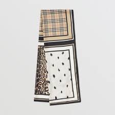 <b>Vintage</b> Check and Animal Print Silk <b>Scarf</b> in Archive Beige - <b>Women</b> ...