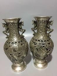 A <b>Pair</b> Old <b>Tibet</b> Silver <b>Handwork</b> Carved Dragon and Phoenix ...