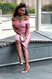 fashion lifestyle blogger lydia epangue in nude pink off fashion lifestyle blogger lydia epangue in nude pink off shoulder midi bandage dress