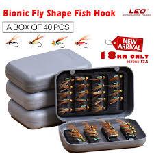 LEO <b>40pcs</b> / Box Bionic <b>Fly</b> Shape FishingHooks <b>Fishing</b> Tool ...