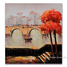 City Bridge <b>Thick Textured 100</b>% <b>Hand</b> Painted Modern Landscape ...