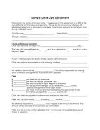 Sample Child Care Agreement Form Free Download 1 Sample Child Care Agreement Form