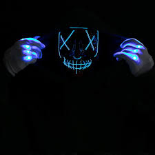 LED Scary Mask and Gloves, <b>Halloween</b> Costume <b>Party</b> (Blue ...