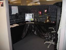 awesome black cubicle decoration for halloween with black tablecloth and wallpaper awesome cubicle decorations