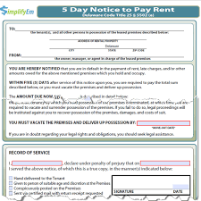 delaware notice to pay rent