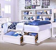 f stunning bedroom furniture design interior of the feature solid white wooden paint queen bed frame with full storage bookcase on headboard and two end blue and white furniture