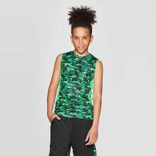 <b>Boys Camo</b> Print Sleeveless <b>T</b> Shirt C9 Champion Green XS