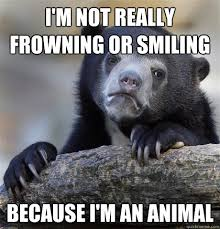 I'm not really frowning or smiling Because I'm an animal ... via Relatably.com