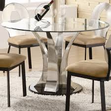 black and white dining table set: glass diamond cutting mixed gray chrome metal based dining table round top with curvy silver base