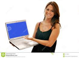 woman computer office space smiling girl pointing to computer with blue screen isolated on white blue white office space