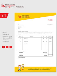 invoice template 42 word excel pdf psd format enticing kindergarten school invoice template