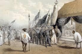 「(3)1854年(嘉永7年3月3日) - ペリー提督と江戸幕府の間に日米和親条約が結ばれ、下田・函館が通商港とされる。」の画像検索結果