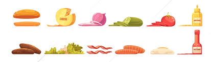<b>Burger</b> Elements Set <b>Retro</b> Cartoon <b>Style</b> Vector Illustration 27591 ...