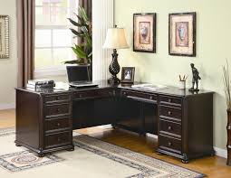 living room desks furniture:  interesting sectional modular desks home office which are made from dark brown hardwood material and has two wall painting and corner desk lamp