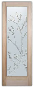 <b>Cherry Blossom</b> Front <b>Doors</b> with Glass Etching Asian Decor