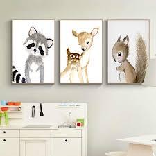 Nordic Kawaii Bear Rabbit <b>Canvas</b> Painting <b>Cartoon Animal</b> Nursery ...