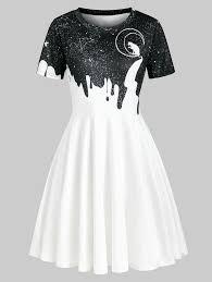 Cat <b>Moon Starry Sky</b> Print Short Sleeve Dress