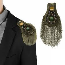 2 <b>Metal</b> Tassel Link Chain <b>Shoulder Boards Badge</b> Brooch Epaulets ...