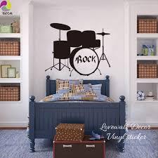 Rock Drums <b>Music Wall Sticker</b> Kids Room Bedroom Garage Band ...