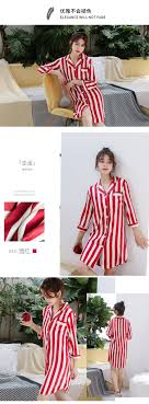 <b>Daeyard</b> Long <b>Silk</b> BF <b>Nightgown Fashion</b> Striped Blouse Sleepshirt ...