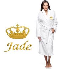Gold crown design with name text <b>Embroidery</b> on bathrobe ...