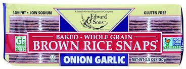 <b>Edward & Sons</b> Brown Rice Snaps, Onion Garlic, 3.5 Ounce Packs ...
