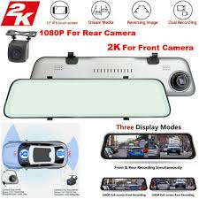 <b>12 inch 2K</b> HD 1080P Dual Lens Car Mirror DVR Dash Cam ...