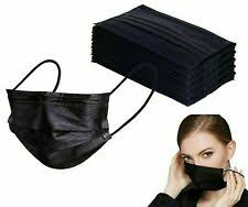 10 black disposable face masks aarton mask <b>medical</b> surgical / 24hr ...