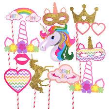 <b>20Pcs</b> Rainbow <b>Unicorn</b> Pegasus Photo Booth Prop Kit Party ...