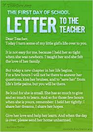 the first day of school letter to the teacher poster click the image to view in full size