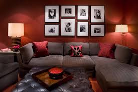beautiful red living room color ideas feat wall frame decorations furnished with gray sectional sofa and soft tufted table ideas also completed with table beautiful brown living room