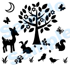 woodland forest animal silhouette wall mural baby nursery kids room decals decor measures 33 tall baby nursery cool bee animal