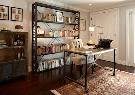 aged look of the bookshelf and the decor adds to the industrial appeal design appealing decorating office decoration