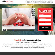 Auto insurance landing page design to capture leads and traffic
