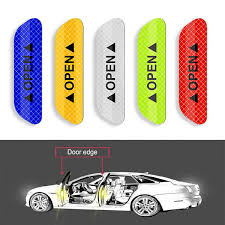 <b>4Pcs Car</b> Door Stickers Warning Mark Reflective Tape <b>Auto</b> Exterior ...