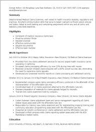 resume templates medical claims examiner claims adjuster resume sample