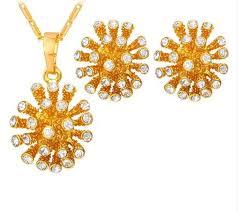 <b>Crystal Star Jewelry</b> Set New <b>Trendy</b> Gold Color Rhinestone Cute ...
