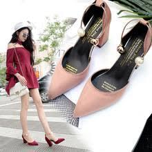 2019 new Korean version suede <b>pointed</b> high heels simple elegant ...