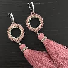 Tassel Earrings long earrings beaded earrings <b>dusty rose</b> | <b>Серьги</b>