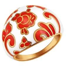 «<b>Кольцо SOKOLOV из</b> золоченого серебра c хохломой 93010310 ...