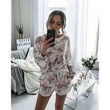 Buy ECOWISH <b>2021 Summer Women</b> Short Pajamas Set Long ...
