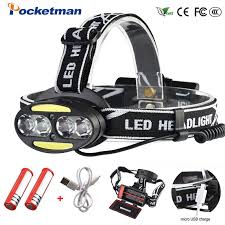 Pocketman Headlight Powerful USB Headlamp 4* T6 +2*COB+2 ...