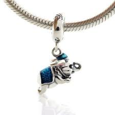 <b>925 Sterling Silver Dumbo</b> Elephant Dangle Charm Blue Enamel ...