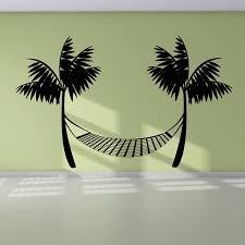 palm tree wall stickers: creative wall decal vinyl durable black printed beach hammock wall sticker palm trees home decor